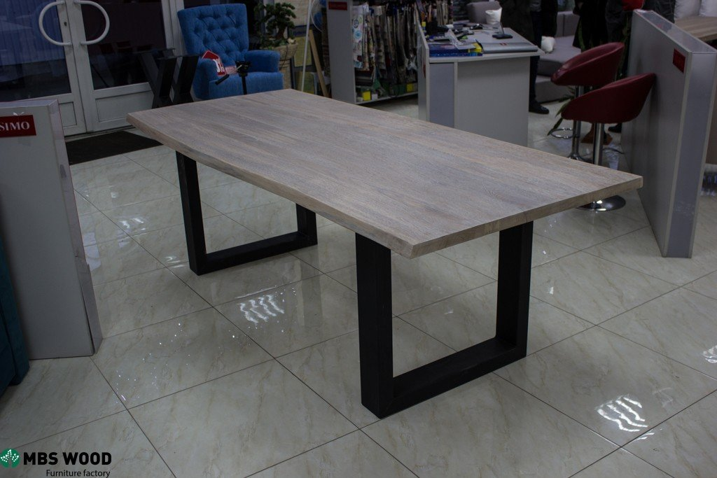 Wooden Table With Straight Metal Legs Mbs Wood
