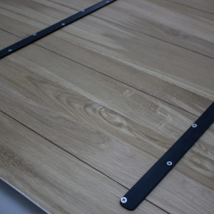 metal planks wooden tabletop