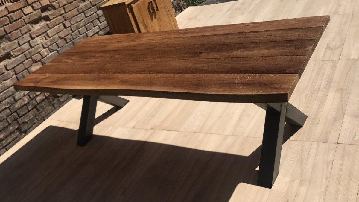 Outdoor Dining Table Oak With Metal Legs Mbs Wood