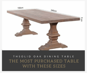 most purchased table with these sizes