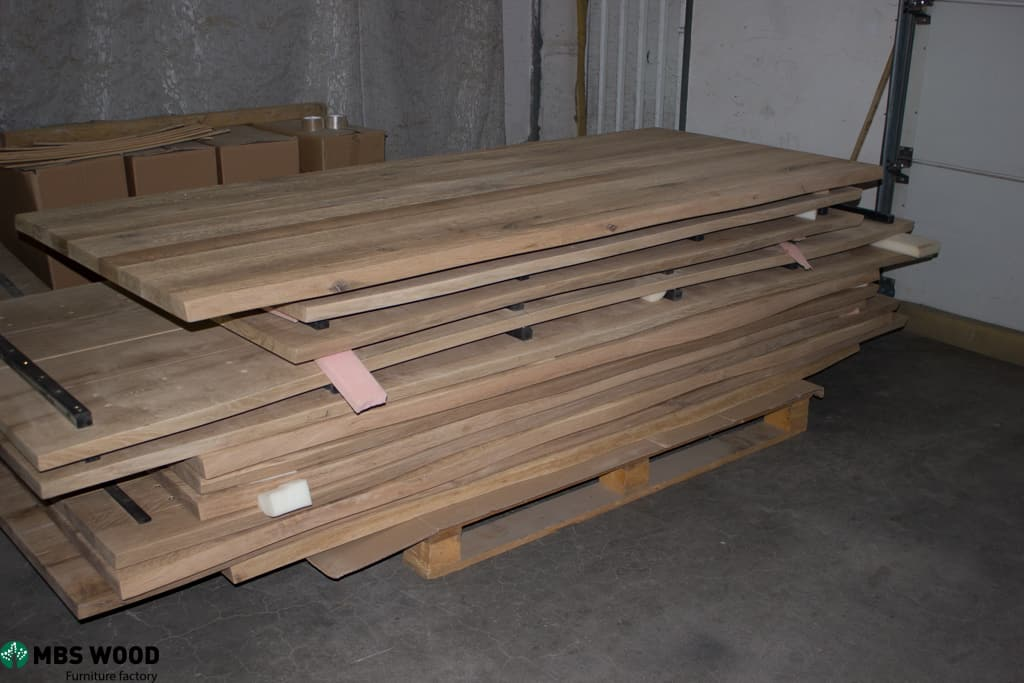 warehouse of table-tops from oak wood