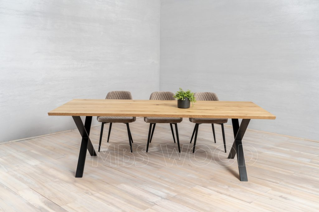 Oak tables mbswood.com with metal legs x-shape color black