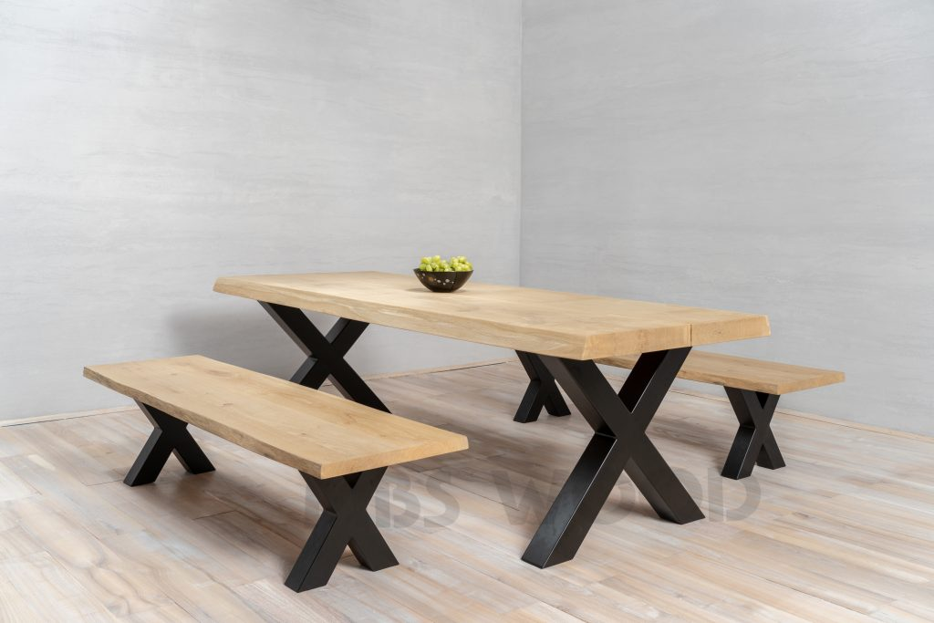 Dessus de table en chêne MBS Bois avec banc de chêne