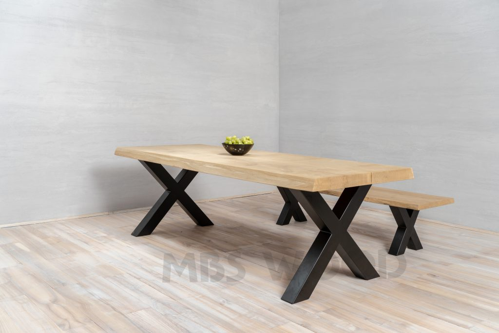Oak table top mbs wood covered black powder paint