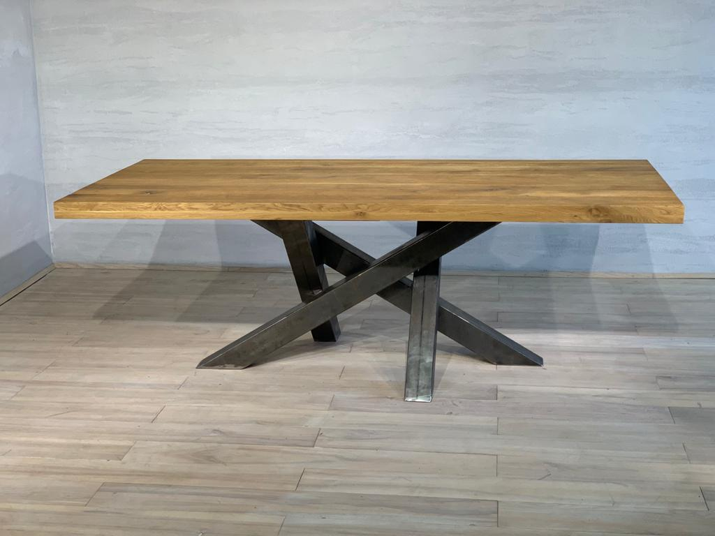 Oak dining Table With metal legs